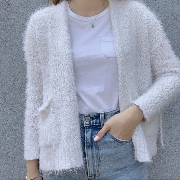 White Hollister Open Front Cardigan